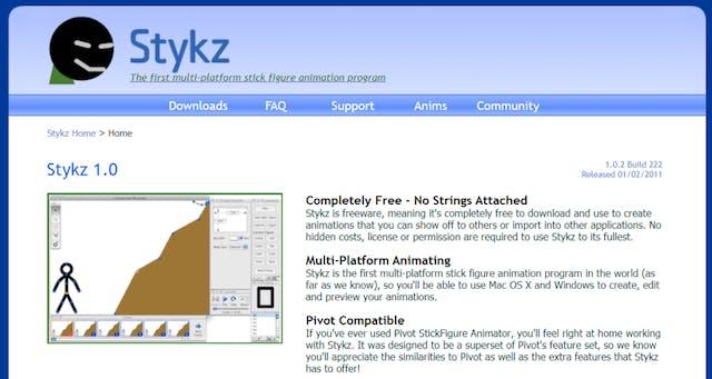 Stykz free animation software